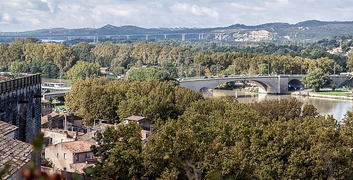 Avignon Blick vom Rocher des Doms: Rhone, Île de la Barthelasse, Pont Edouard Daladier