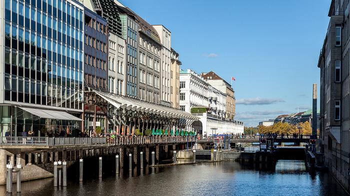 Hamburg Blick von der Adolphsbrücke: Alsterfleet Alsterarkaden Rathausschleuse Schleusenbrücke