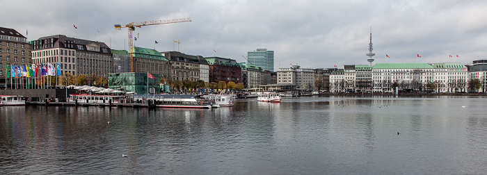 Hamburg Binnenalster, Jungfernstieg, Neuer Jungfernstieg mit Fairmont Hotel Vier Jahreszeiten Emporio-Hochhaus Heinrich-Hertz-Turm