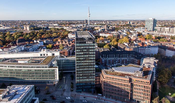 Hamburg Blick vom Turm der St.-Michaelis-Kirche (Michel) Emporio-Hochhaus Große Wallanlagen Heinrich-Hertz-Turm