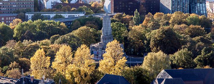 Hamburg Blick vom Turm der St.-Michaelis-Kirche (Michel): Alter Elbpark - Bismarck-Denkmal