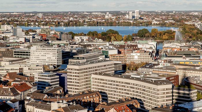 Hamburg Blick vom Turm der St.-Michaelis-Kirche (Michel): Außenalster Alster Alsterfontäne Binnenalster