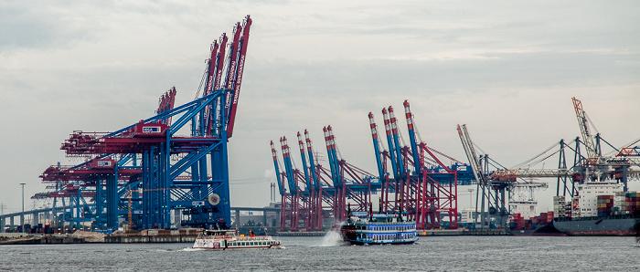 Hamburger Hafen: Containerterminal Burchardkai (links), Waltershofer Hafen und Eurogate Container Terminal Hamburg