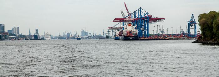 Elbe und Containerterminal Burchardkai (Hamburger Hafen) Hamburg