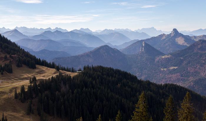 Wallberg Karwendel (links) und Wettersteingebirge