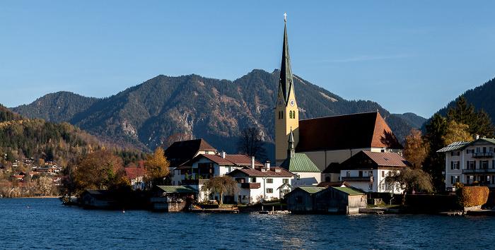 Tegernsee (See) Egerner Bucht (Obersee), Rottach-Egern mit St. Laurentius