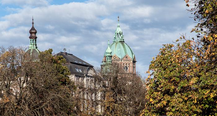 München Blick von der Museumsinsel: St. Lukas (Lukaskirche)