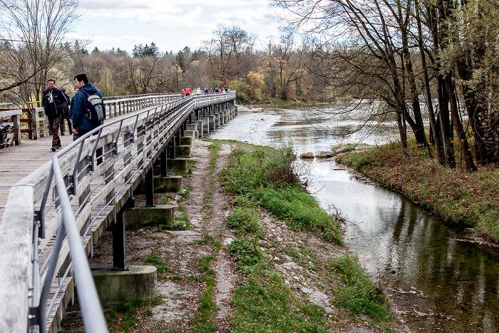 München Sendling: Flaucher - Flauchersteg und Isar