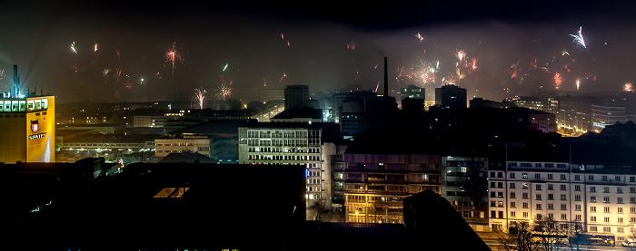 München Blick vom BR-Funkhaus: Silvester-/Neujahr-Feuerwerk