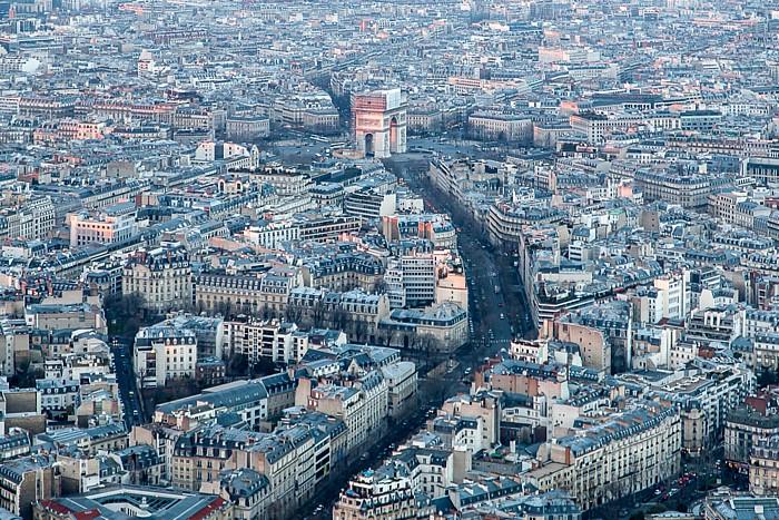 Blick vom Eiffelturm (Tour Eiffel): Avenue d'Iéna und Place Charles-de-Gaulle mit dem Arc de Triomphe Paris