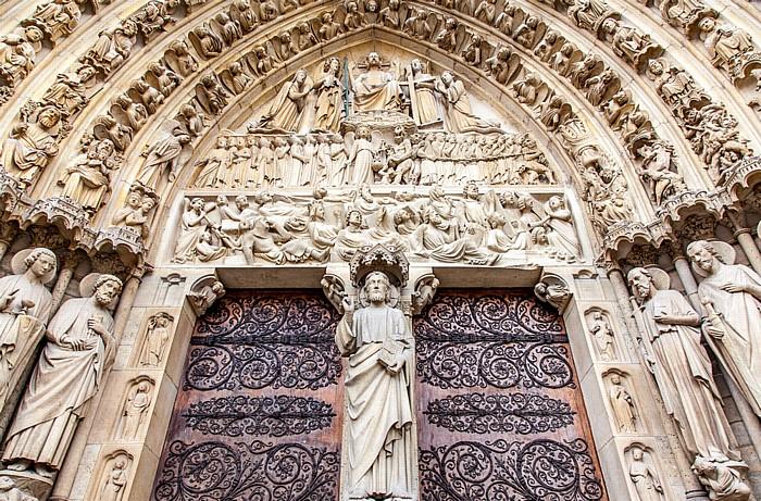 Île de la Cité: Notre-Dame de Paris -  Westfassade: Hauptportal