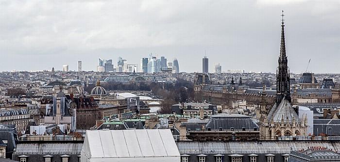 Blick von der Notre-Dame de Paris: Île de la Cité mit der Sainte-Chapelle, La Defense Grand Palais Institut de France Musée du Louvre Seine