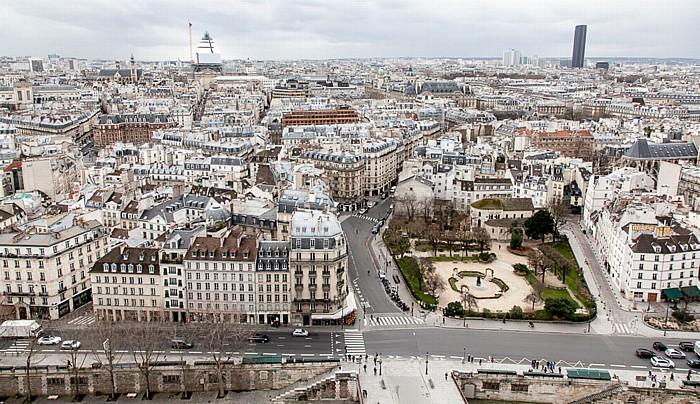 Blick von der Notre-Dame de Paris Église Saint-Étienne-du-Mont Panthéon Quai de Montebello Seine Square René-Viviani Tour Montparnasse
