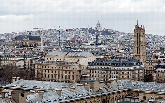 Blick von der Notre-Dame de Paris Basilique du Sacré-Coeur Église Saint-Eustache Montmartre Théâtre de la Ville Tour Saint-Jacques