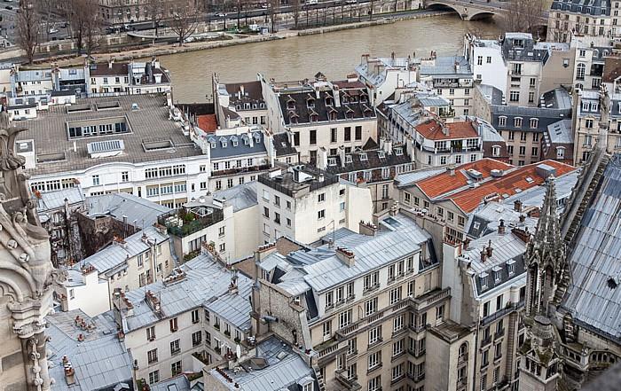 Blick von der Notre-Dame de Paris: Île de la Cité und Seine