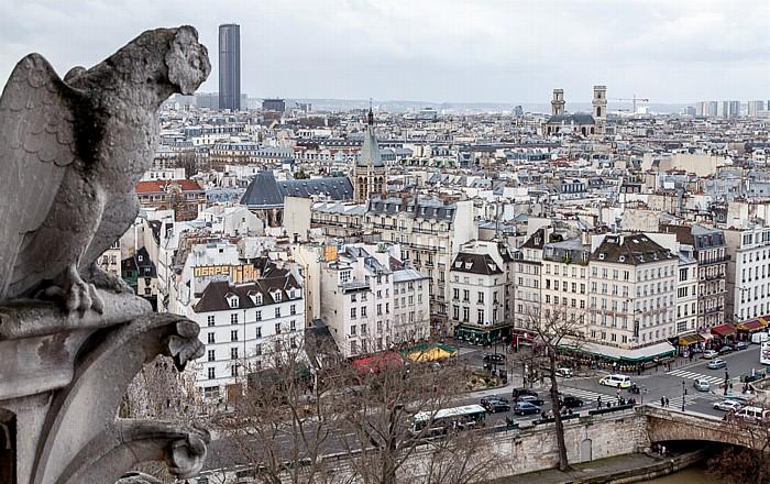 Blick von der Notre-Dame de Paris Église Saint-Séverin Église Saint-Sulpice Tour Montparnasse