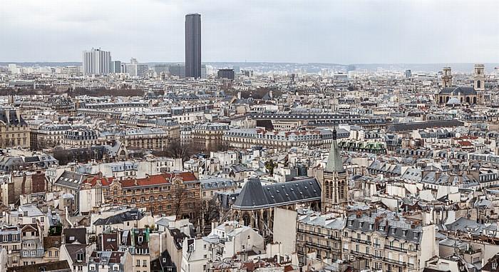 Blick von der Notre-Dame de Paris: Tour Montparnasse, Église Saint-Séverin (unten) und Église Saint-Sulpice
