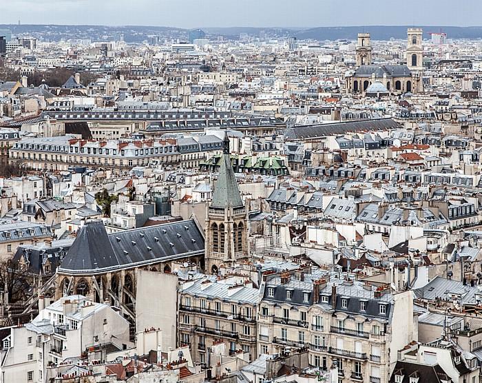 Blick von der Notre-Dame de Paris: Église Saint-Séverin (links) und Église Saint-Sulpice