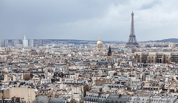 Blick von der Notre-Dame de Paris: Eiffelturm (Tour Eiffel) Invalidendom Palais de Chaillot Trocadéro