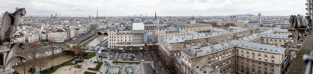 Blick von der Notre-Dame de Paris Basilique du Sacré-Coeur Église Saint-Sulpice Eiffelturm Montmartre Sainte-Chapelle Tour Montparnasse Tour Saint-Jacques Tribunal de commerce