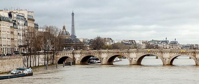 Seine, Pont Neuf, Île de la Cité, Eiffelturm Paris