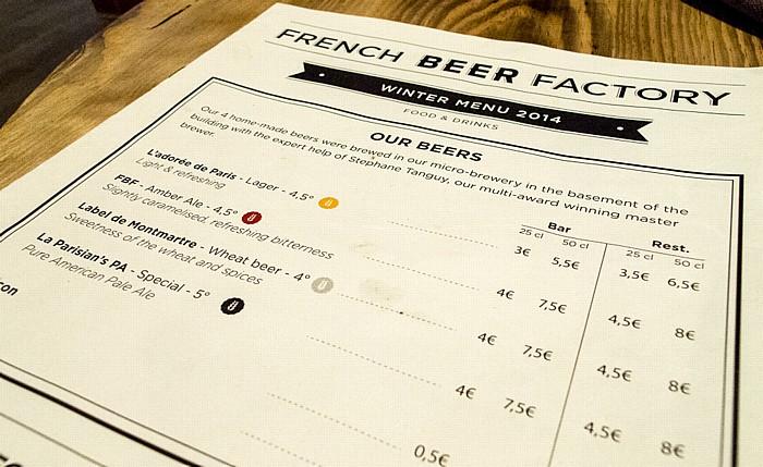 French Beer Factory: Bierkarte Paris