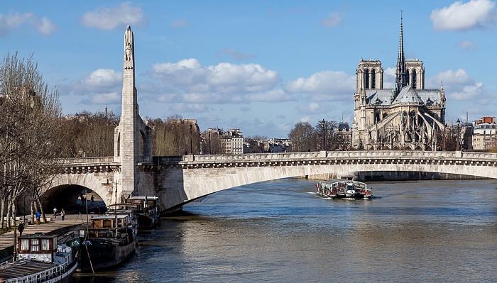 Blick von der Pont de Sully: Seine mit der Pont de la Tournelle, Notre-Dame de Paris