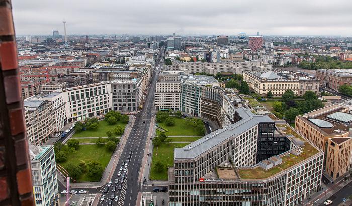 Berlin Blick vom Kollhoff-Tower: Leipziger Platz und Leipziger Straße Abgeordnetenhaus von Berlin Axel-Springer-Hochhaus Berliner Dom Fernsehturm GSW-Hochhaus HiFlyer Martin-Gropius-Bau