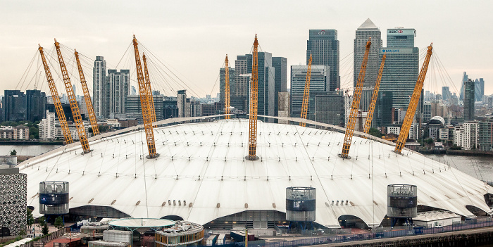 Blick aus der Emirates Air Line (Thames cable car): Greenwich Peninsula mit The O2 (Millennium Dome) London