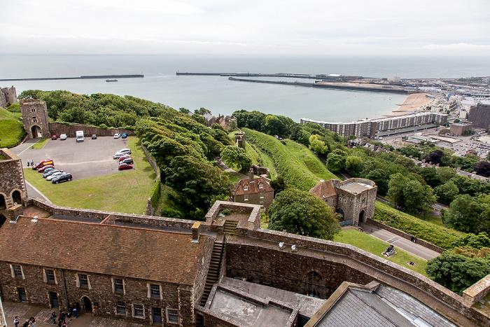 Dover Castle: Blick vom Great Tower Fährhafen