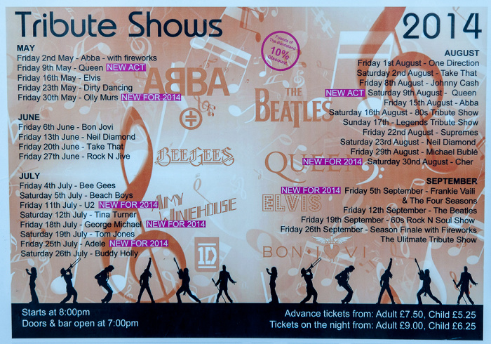Eastbourne Seafront: Ankündigung für Tribute-Konzerte