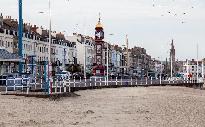 Weymouth The Esplanade mit Viktorianischer Jubilee Clock St John's Church