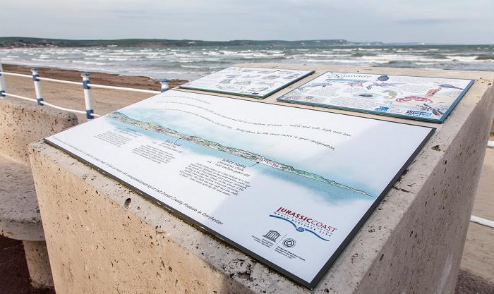 Weymouth The Esplanade: Hinweistafel zur Jurassic Coast Weymouth Bay