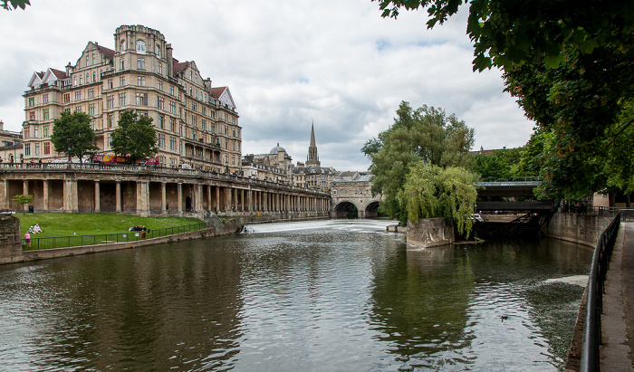 Bath River Avon, Grand Parade, Empire Hotel, St Michael's Church, Pulteney Bridge