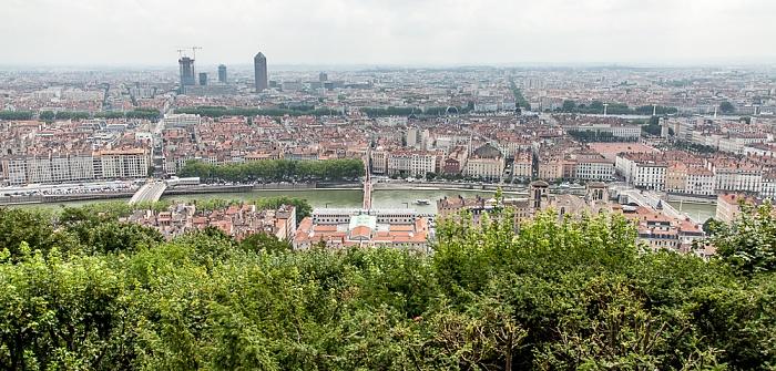 Blick von Fourvière (v.u.): Vieux Lyon, Saône, Presqu'île (Halbinsel), Rhone La Part-Dieu
