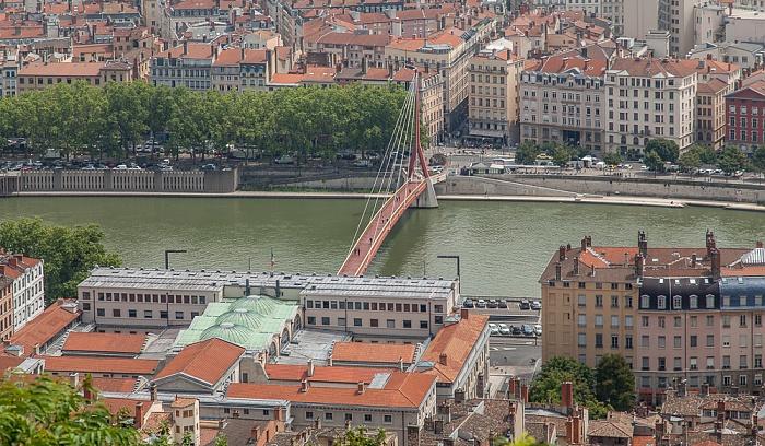 Blick von Fourvière (v.u.): Vieux Lyon, Saône mit Passerelle du Palais de Justice und Presqu'île (Halbinsel) Lyon