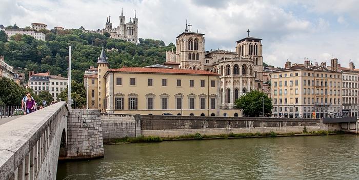 Pont Bonaparte, Saône, Vieux Lyon mit der Cathédrale Saint-Jean-Baptiste Basilique Notre-Dame de Fourvière Fourvière