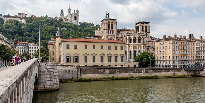 Pont Bonaparte, Saône, Vieux Lyon mit der Cathédrale Saint-Jean-Baptiste Lyon