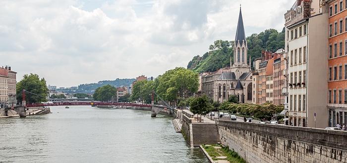 Saône mit der Passerelle Paul Couturier, Vieux Lyon mit dem Quai Fulchiron und der Église Saint-Georges
