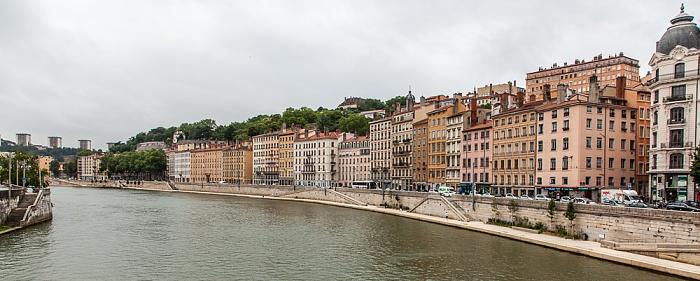 Lyon Blick von der Passerelle Saint-Vincent: Saône und Presqu'île (Halbinsel) mit dem Quai St Vincent