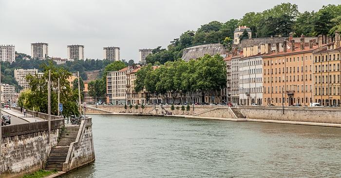 Lyon Blick von der Passerelle Saint-Vincent: Saône und Quai St Vincent