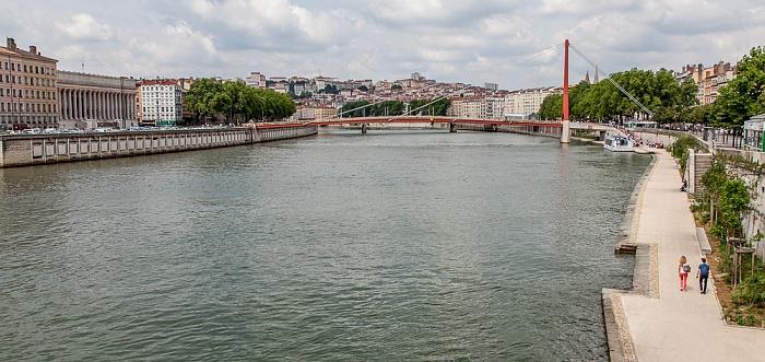 Blick von der Pont Bonaparte (v.l.): Vieux Lyon, Saône mit Passerelle du Palais de Justice, Presqu'île (Halbinsel) Lyon