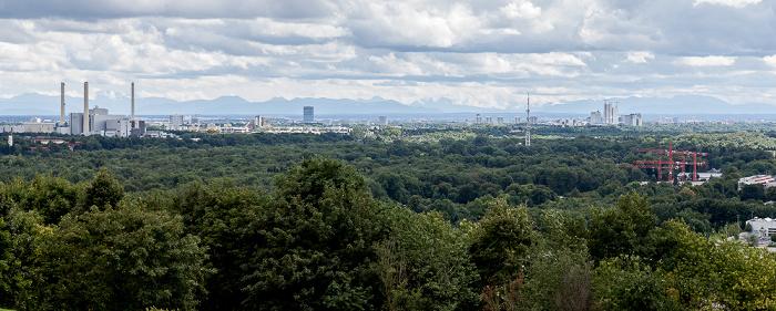München Blick vom Fröttmaninger Berg Arabellapark Heizkraftwerk München-Nord