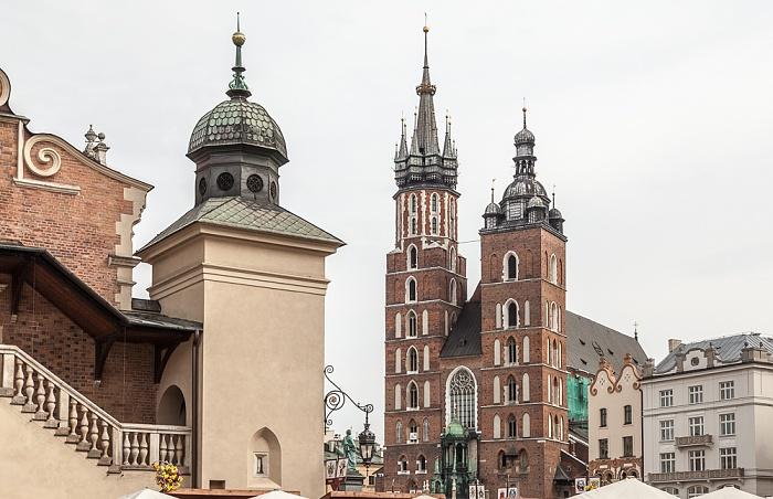 Krakau Stare Miasto: Hauptmarkt (Ring, Rynek Glówny) - Marienkirche Krakauer Tuchhallen