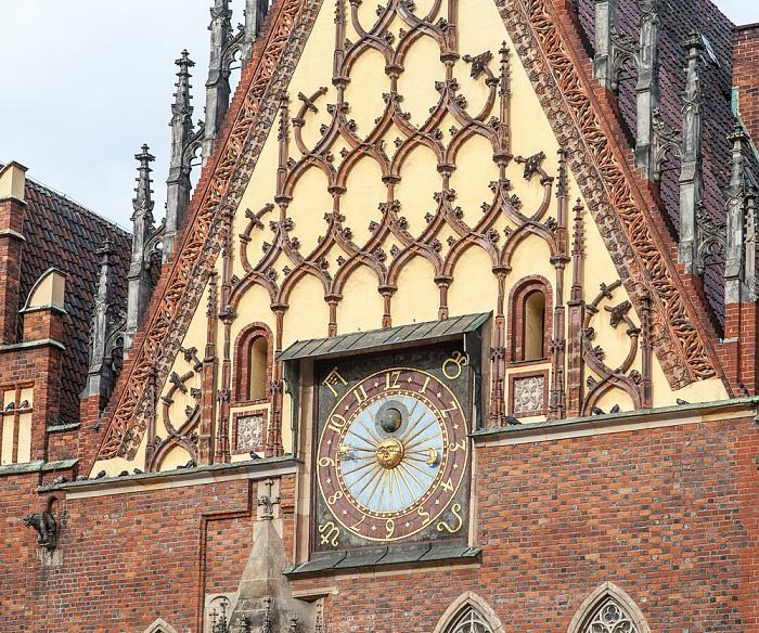 Stare Miasto: Großer Ring (Rynek) - Breslauer Rathaus: Astronomische Uhr