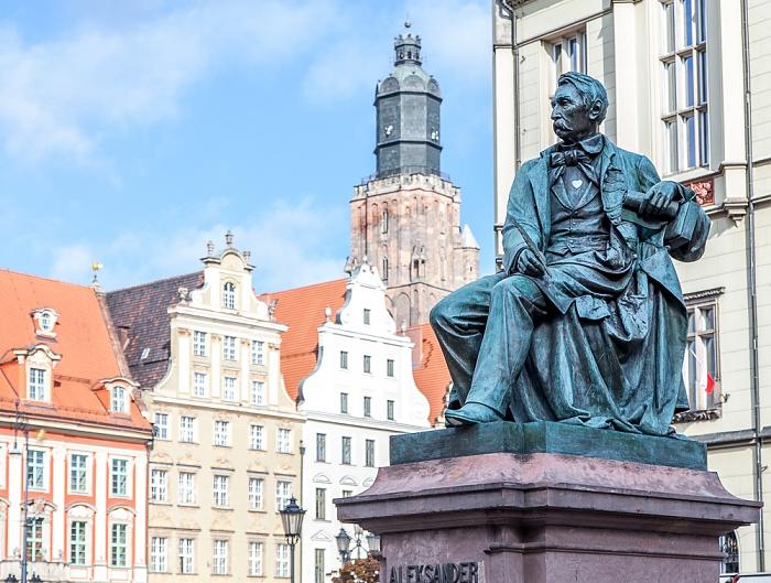 Breslau Stare Miasto: Großer Ring (Rynek) - Aleksander-Fredro-Denkmal Elisabethkirche