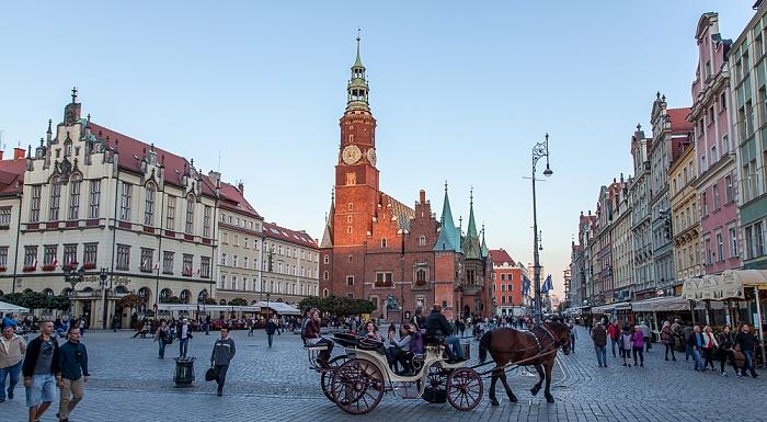 Stare Miasto: Großer Ring (Rynek) - Innerer Ringblock und Breslauer Rathaus Bierkeller Spiz