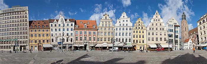 Breslau Stare Miasto: Großer Ring (Rynek) - Westseite (Sieben-Kurfürsten-Seite, Taubenplatz, Paradeplatz) Elisabethkirche Unter den Greifen Zu den sieben Kurfürsten Zur Goldenen Sonne