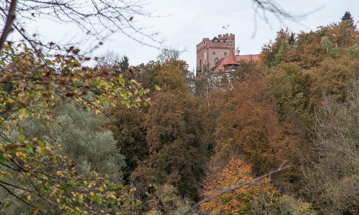 Pullach im Isartal Isartal, Isarhochufer mit Burg Schwaneck (Jugendherberge)