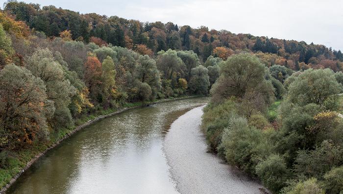 Blick von der Grünwalder Isarbrücke: Isar, Isartal